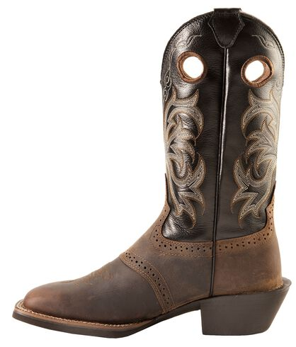 Justin Men S Punchy Stampede Black Cowboy Boots Square Toe Country Outfitter