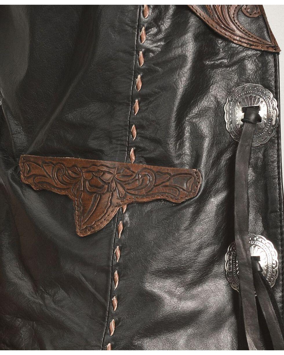 Kobler Floral Tooled Leather Vest, Black, hi-res