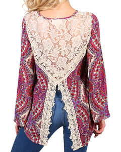 Henna Women's Lace Back Long Sleeve Top, Purple, hi-res