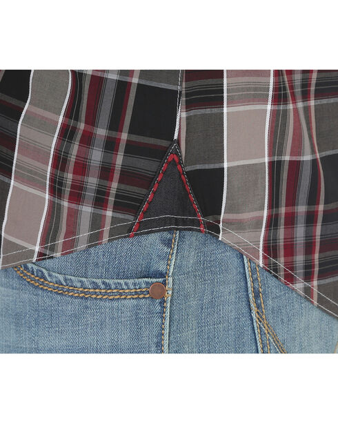 Wrangler Rock 47 Men's Plaid Embroidered Long Sleeve Snap Shirt - Big & Tall, Black, hi-res