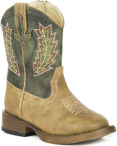 Roper Toddler Boys' Arrowheads Cowboy Boots - Square Toe, Tan, hi-res