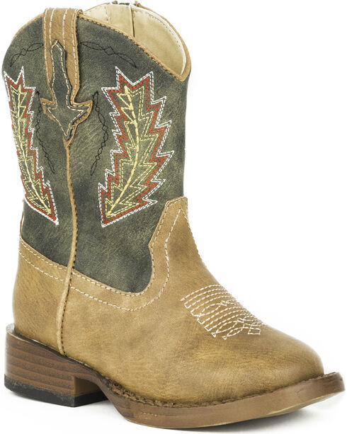 Roper Toddler Boys' Arrowheads Cowboy Boots - Square Toe, Tan, hi-res