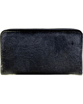 Trinity Ranch Women's Black Hair-On Leather Wallet , Black, hi-res