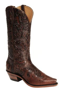Boulet Hand Tooled Calf with Wingtip Cowgirl Boots - Snip Toe, , hi-res