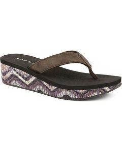 Roper Women's Brown Chevron Straw Wrap Sandals , Brown, hi-res
