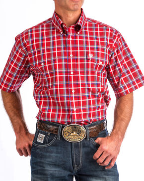 Cinch Men's Red Plaid Short Sleeve Double Pocket Shirt, Red, hi-res