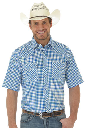Wrangler 20X Men's Blue Short Sleeve Plaid 2 Pocket Snap Button Shirt, Blue, hi-res