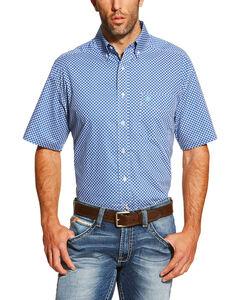 Ariat Men's Blue Diamond Print Indiana Western Shirt , Blue, hi-res