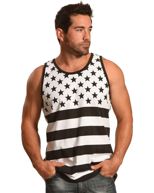 Cody James Men's Black and White American Flag Tank, Black, hi-res