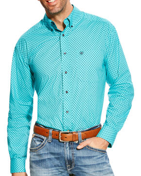Ariat Men's Turquoise Atherton Print Western Shirt - Big & Tall, Turquoise, hi-res