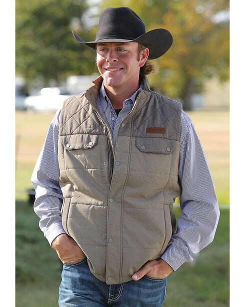 Cinch Men's Brown Quilted Polyfill Vest , Brown, hi-res