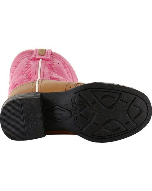Shyanne Girls' Saddle Vamp Western Boots - Round Toe, Tan, hi-res