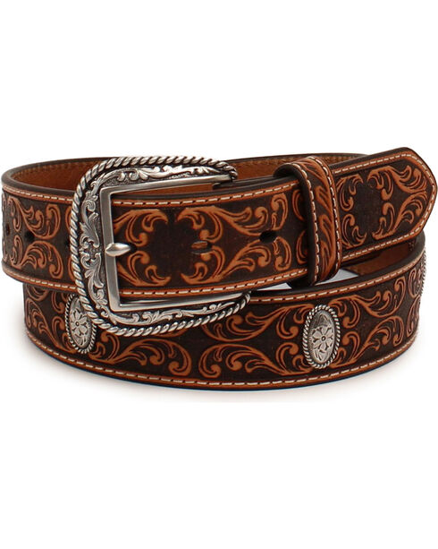 Ariat Men's Scroll Embossed Silver Concho Belt, Tan, hi-res