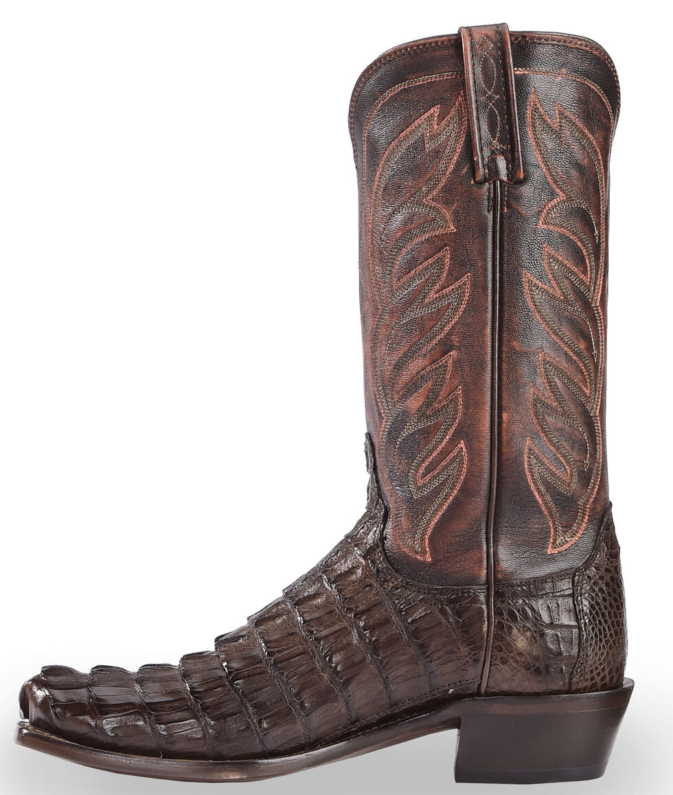 Lucchese Men's Handmade Landon Caiman Tail Cowboy Boots - Narrow Square Toe, Barrel Brn, hi-res