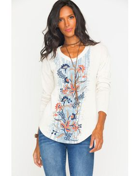Miss Me Women's Embroidered Long Sleeve Knit Top , Natural, hi-res