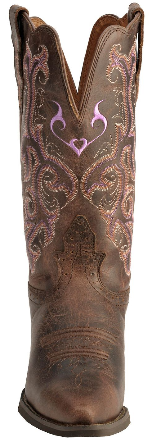 Justin Chocolate Puma Cowhide Stampede Cowgirl Boots - Snip Toe, Chocolate, hi-res