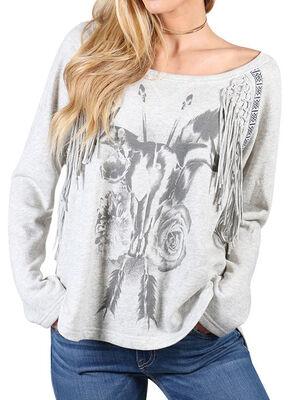 Shyanne Women's Floral Skull Fringe Sweatshirt, Khaki, hi-res