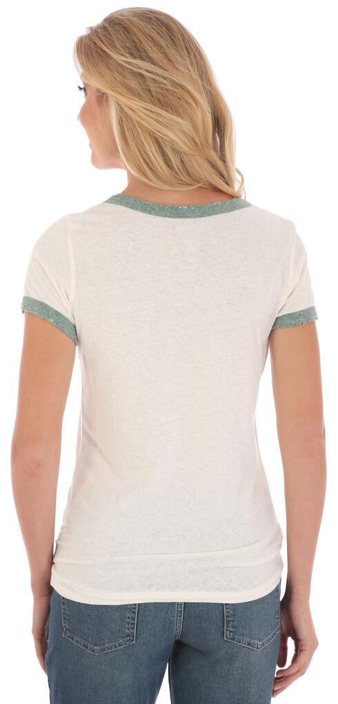 Wrangler Women's White and Green Ringer T-Shirt , White, hi-res