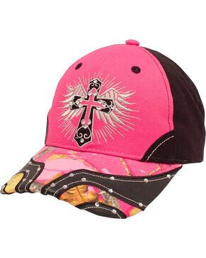 Blazin Roxx Women's Cross and Wings Cap, Pink, hi-res