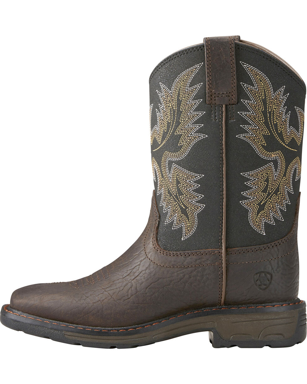 Ariat Youth Boys' Workhog Bruin Western Boots - Square Toe, Brown, hi-res