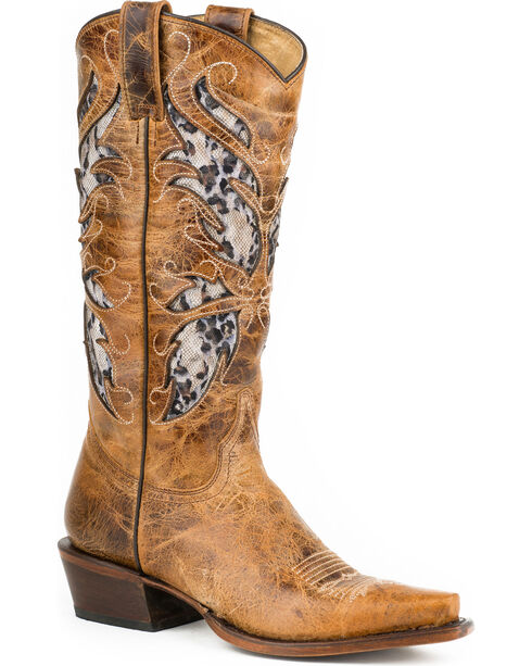 Roper Leopard Lace Inlay Cowgirl Boots - Snip Toe, Brown, hi-res