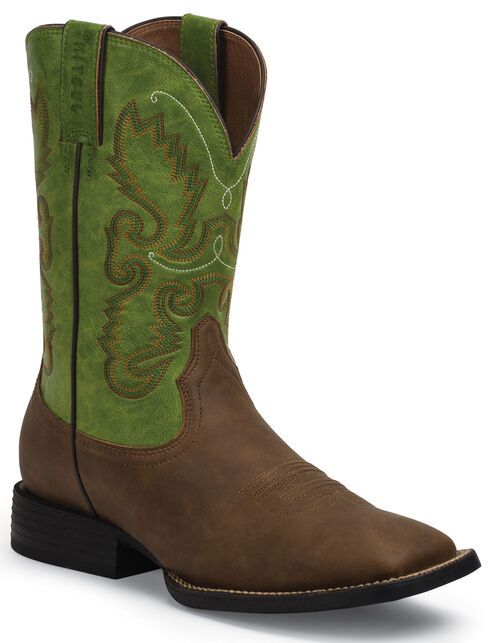 Justin Farm and Ranch Men's Synthetic Cowboy Boots - Square Toe , Bay Apache, hi-res