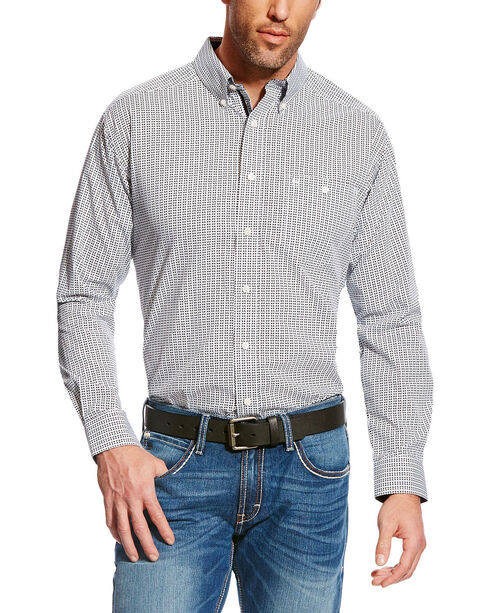 Ariat Men's Cream Hero Print Wrinkle Free Western Shirt , Black, hi-res