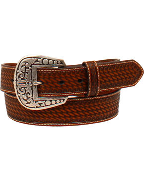 Ariat Women's Tooled Diamond Concho Overlay Belt , Tan, hi-res