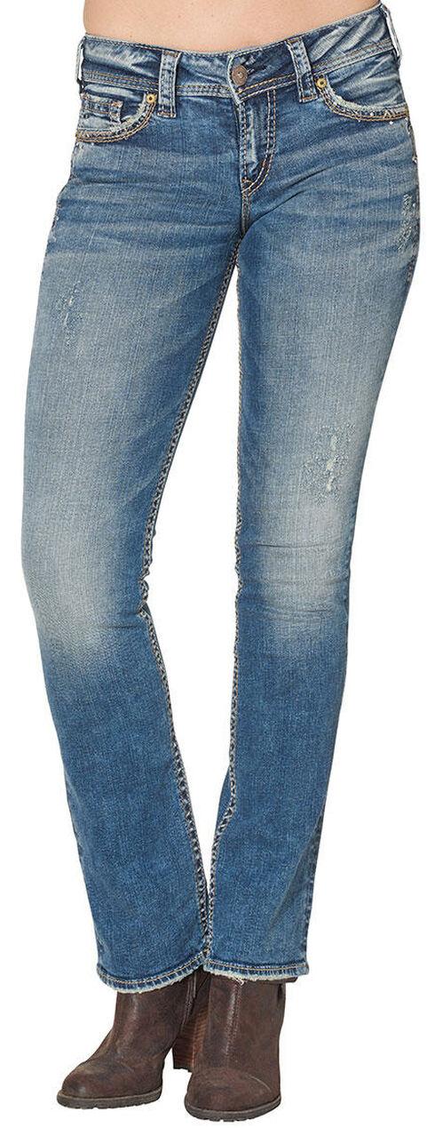 Silver Women's Suki Mid Bootcut Jeans - Plus Size , Blue, hi-res