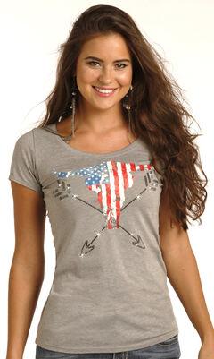 Rock & Roll Cowgirl Women's Grey Americana Steer Graphic Tee , Grey, hi-res