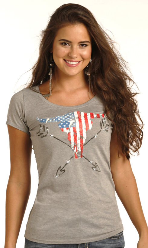 Rock & Roll Cowgirl Women's Grey Americana Steer Graphic Tee , Grey, hi-res