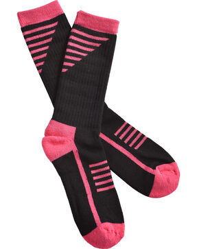 Shyanne Women's Pink & Black Performance Socks with COOLMAX, Black, hi-res