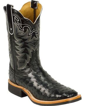 Tony Lama Black Full Quill Ostrich Cowboy Boots - Square Toe, Black, hi-res