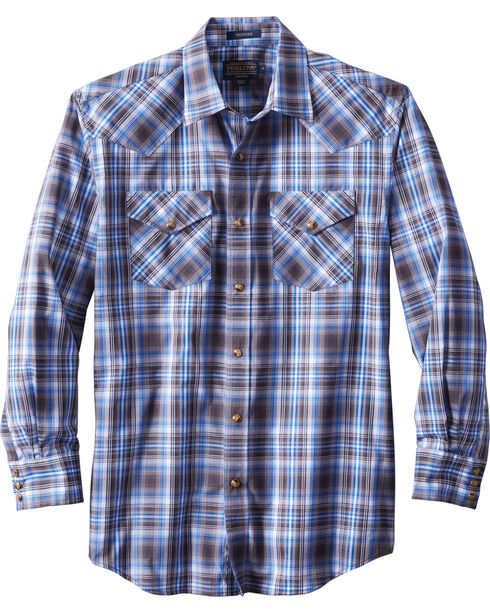 Pendleton Men's Long Sleeve Frontier Plaid Shirt, Blue, hi-res