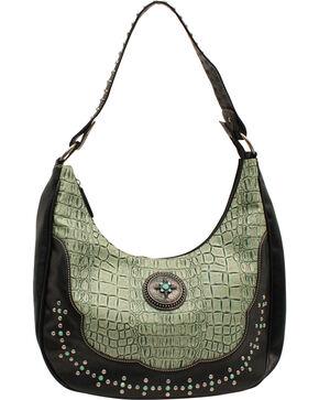 Blazin Roxx Women's Turquoise Croc Print Shoulder Bag, Turquoise, hi-res