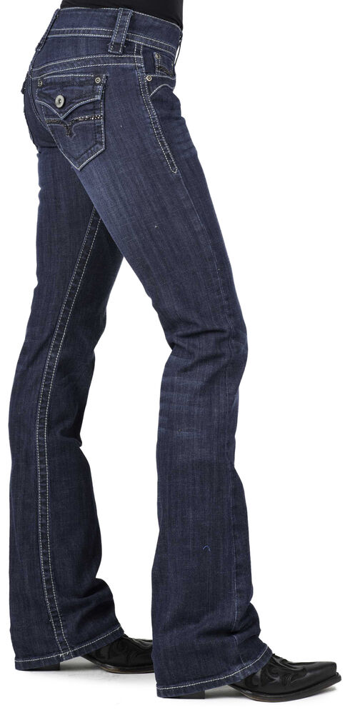 Stetson Women's 818 Dark Rinse Rhinestone Rear Flap Bootcut Jeans, , hi-res