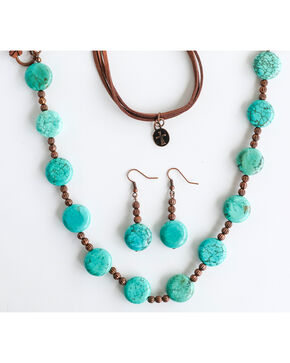 West & Co. Women's Copper Bead Turquoise Disk Jewelry Set, Rust Copper, hi-res