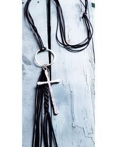 Jewelry Junkie Women's Braided Tassel and Silver Cross Necklace , Black, hi-res