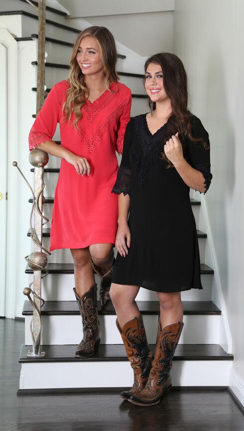 Wrangler Women's Black V-Neck Crochet Trim Dress , Black, hi-res