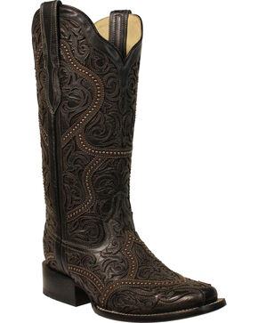 Corral Women's Black Full Overlay Studs Cowgirl Boots - Square Toe, Black, hi-res