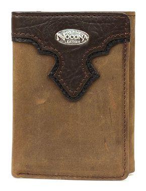 Nocona Distressed Concho Overlay Tri-Fold Wallet, Brown, hi-res