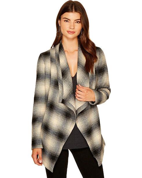 Jack Women's Mower Light Plaid Drape Front Jacket, Grey, hi-res