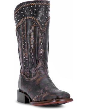 Dan Post Women's Black Amped Studded Zipper Boots - Square Toe , Black, hi-res