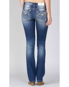 Miss Me Women's Indigo Embroidered Pocket Slim Fit Jeans - Boot Cut, , hi-res