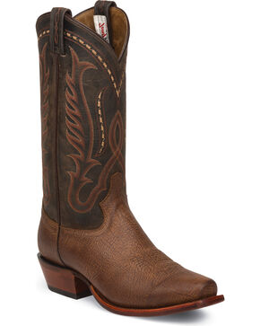 Tony Lama Men't Bastrop Roo Buffalo Cowboy Boots - Snip Toe , Brown, hi-res