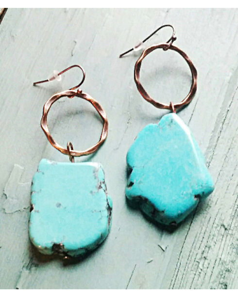 Jewelry Junkie Chunky Blue Turquoise Earrings, Blue, hi-res