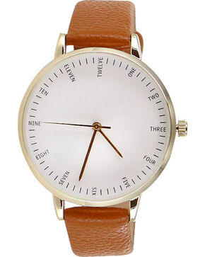 Shyanne Women's White Face Gold Trim Watch, Cognac, hi-res