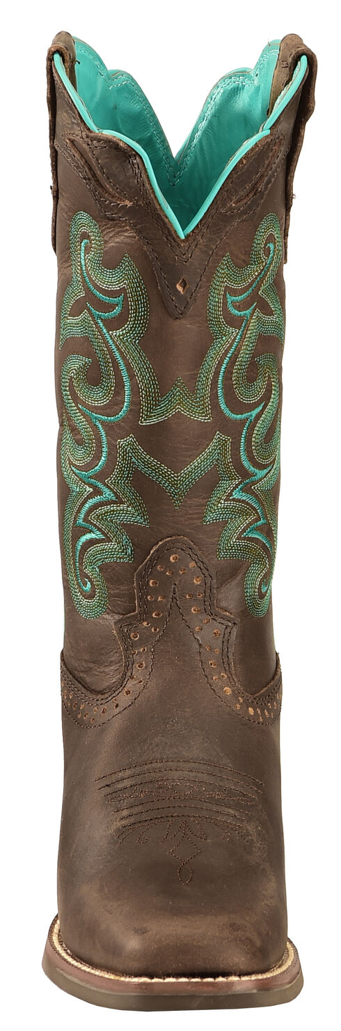 Justin Silver Turquoise Stitched Cowgirl Boots - Square Toe, Chocolate, hi-res