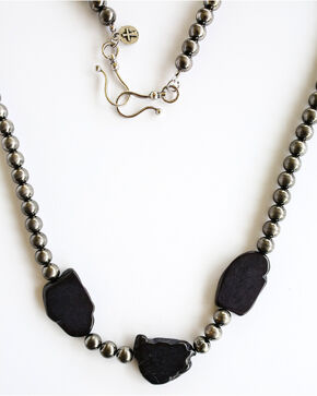 West & Co. Women's Worn Silver Black Stones Necklace, Silver, hi-res