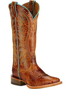 Ariat Vaquera Cowgirl Boots - Square Toe , Tan, hi-res